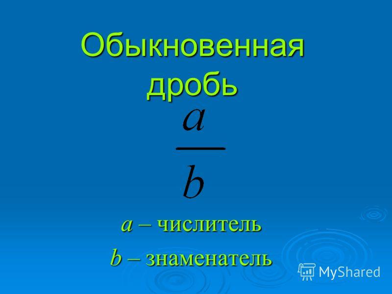 Обыкновенная дробь а – числитель b – знаменатель