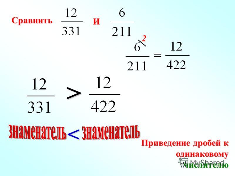 Приведение дробей к одинаковому одинаковомучислителю > < Сравнить И 2