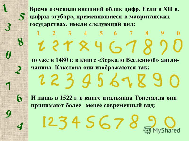 1 5 3 8 0 2 7 6 9 4 Время изменило внешний облик цифр. Если в XII в. цифры «губар», применявшиеся в мавританских государствах, имели следующий вид: то уже в 1480 г. в книге «Зеркало Вселенной» англи- чанина Какстона они изображаются так: И лишь в 152