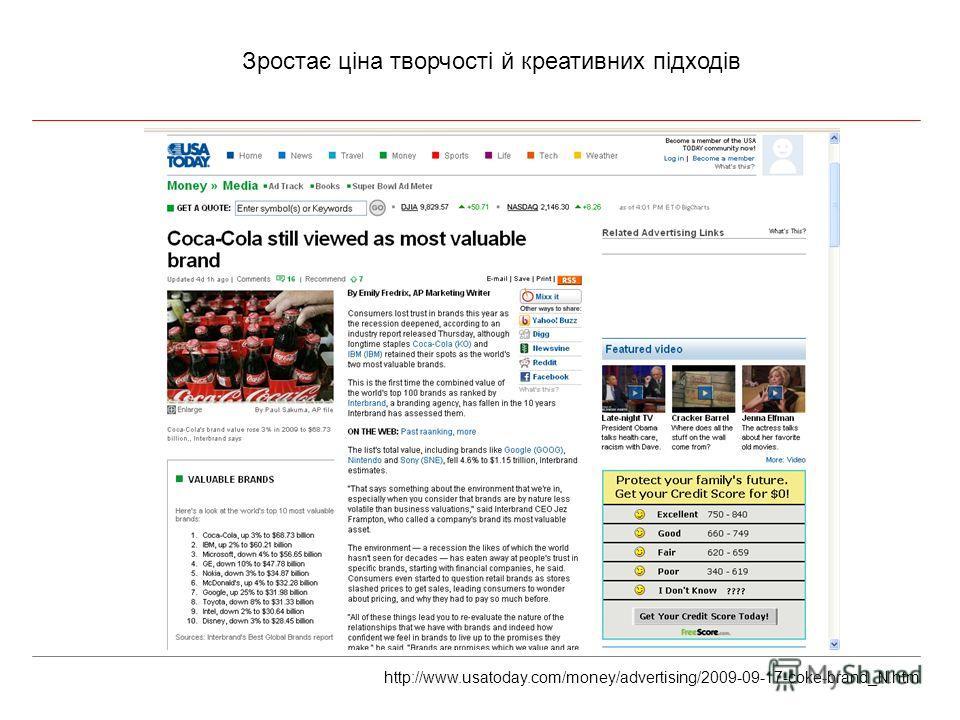 Зростає ціна творчості й креативних підходів http://www.usatoday.com/money/advertising/2009-09-17-coke-brand_N.htm