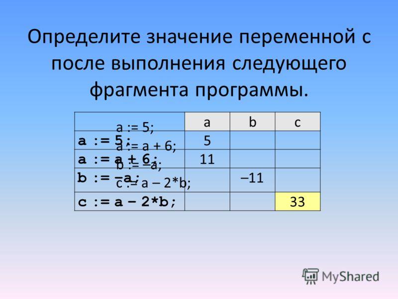 Определите значение переменной c после выполнения следующего фрагмента программы. abc a := 5; 5 a := a + 6; 11 b := –a; –11 c := a – 2*b; 33 a := 5; a := a + 6; b := –a; c := a – 2*b;
