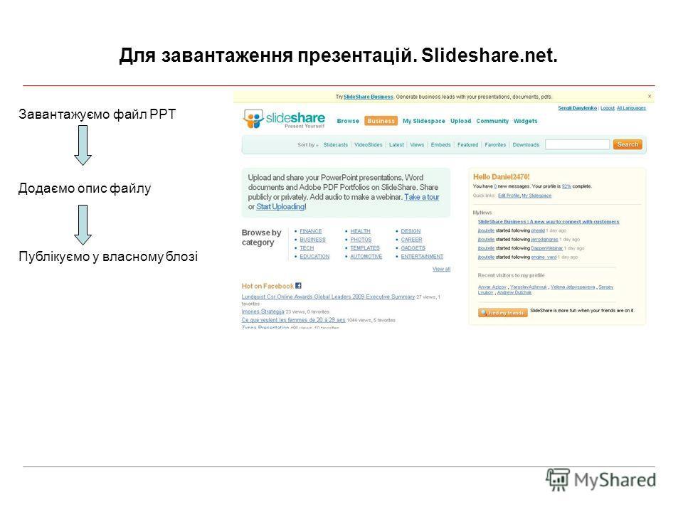 Для завантаження презентацій. Slideshare.net. Завантажуємо файл PPT Додаємо опис файлу Публікуємо у власному блозі
