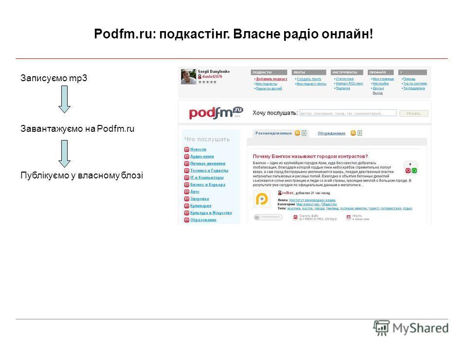 Podfm.ru: подкастінг. Власне радіо онлайн! Записуємо mp3 Завантажуємо на Podfm.ru Публікуємо у власному блозі