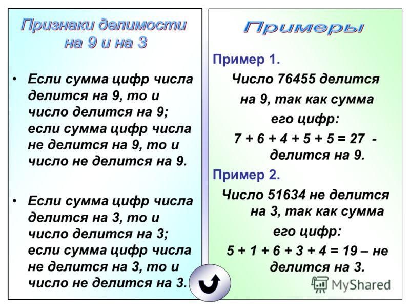 Пример 1. Число 76455 делится на 9, так как сумма его цифр: 7 + 6 + 4 + 5 + 5 = 27 - делится на 9. Пример 2. Число 51634 не делится на 3, так как сумма его цифр: 5 + 1 + 6 + 3 + 4 = 19 – не делится на 3. Если сумма цифр числа делится на 9, то и число