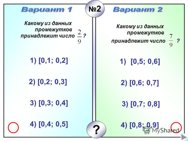 Какому из данных промежутков принадлежит число ? 1) [0,1; 0,2] 2) [0,2; 0,3] 3) [0,3; 0,4] 4) [0,4; 0,5] Какому из данных промежутков принадлежит число ? 1)[0,5; 0,6] 2) [0,6; 0,7] 3) [0,7; 0,8] 4) [0,8; 0,9] 2 ?