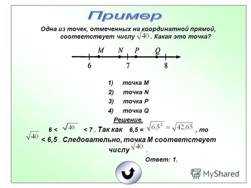 Одна из точек, отмеченных на координатной прямой, соответствует числу. Какая это точка? 1)точка М 2)точка N 3)точка P 4)точка Q Решение. 6 < < 7. Так как 6,5 =, то < 6,5. Следовательно, точка М соответствует числу. Ответ: 1.