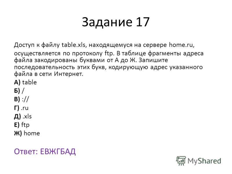 Задание 17 Доступ к файлу table.xls, находящемуся на сервере home.ru, осуществляется по протоколу ftp. В таблице фрагменты адреса файла закодированы буквами от А до Ж. Запишите последовательность этих букв, кодирующую адрес указанного файла в сети Ин