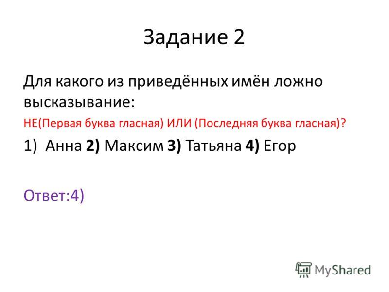 Задание 2 Для какого из приведённых имён ложно высказывание: НЕ(Первая буква гласная) ИЛИ (Последняя буква гласная)? 1)Анна 2) Максим 3) Татьяна 4) Егор Ответ:4)