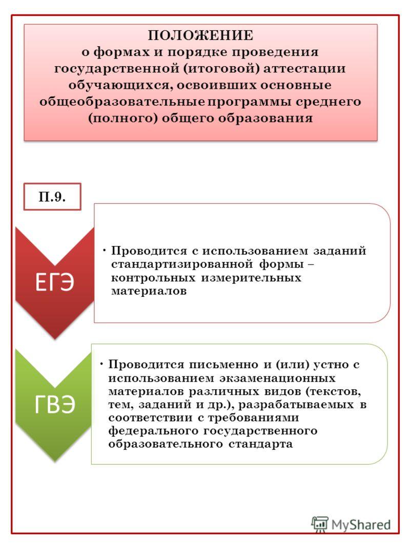 ПОЛОЖЕНИЕ о формах и порядке проведения государственной (итоговой) аттестации обучающихся, освоивших основные общеобразовательные программы среднего (полного) общего образования П.9. ЕГЭ Проводится с использованием заданий стандартизированной формы –