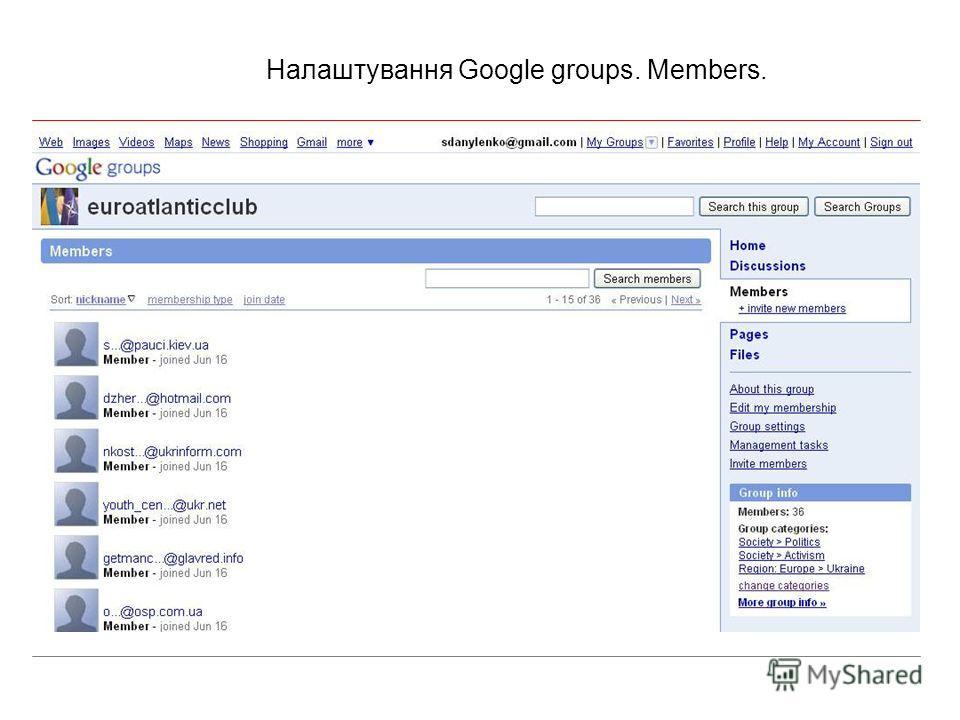 Налаштування Google groups. Members.