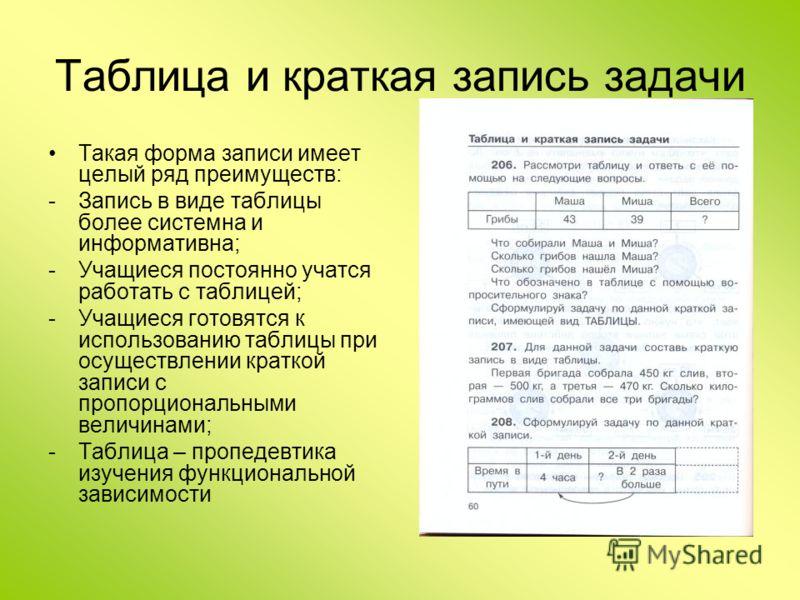 Таблица и краткая запись задачи Такая форма записи имеет целый ряд преимуществ: -Запись в виде таблицы более системна и информативна; -Учащиеся постоянно учатся работать с таблицей; -Учащиеся готовятся к использованию таблицы при осуществлении кратко