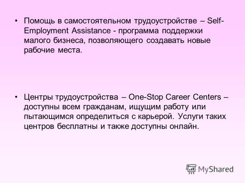 Помощь в самостоятельном трудоустройстве – Self- Employment Assistance - программа поддержки малого бизнеса, позволяющего создавать новые рабочие места. Центры трудоустройства – One-Stop Career Centers – доступны всем гражданам, ищущим работу или пыт