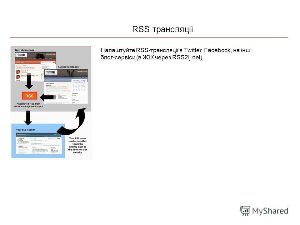 RSS-трансляції Налаштуйте RSS-трансляції в Twitter, Facebook, на інші блог-сервіси (в ЖЖ через RSS2lj.net).