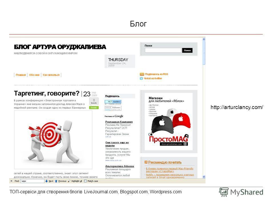 Блог http://arturclancy.com/ ТОП-сервіси для створення блогів LiveJournal.com, Blogspot.com, Wordpress.com