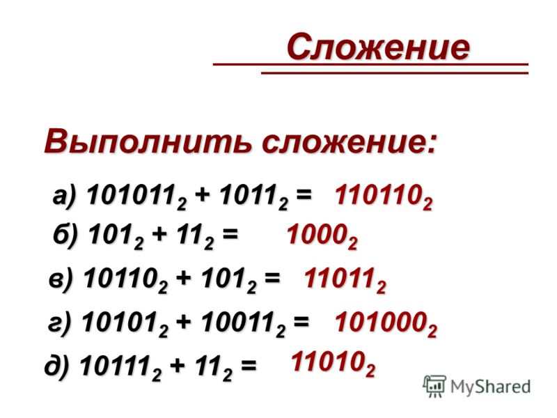 Сложение а) 101011 2 + 1011 2 = Выполнить сложение: б) 101 2 + 11 2 = в) 10110 2 + 101 2 = г) 10101 2 + 10011 2 = д) 10111 2 + 11 2 = 110110 2 1000 2 11011 2 101000 2 11010 2