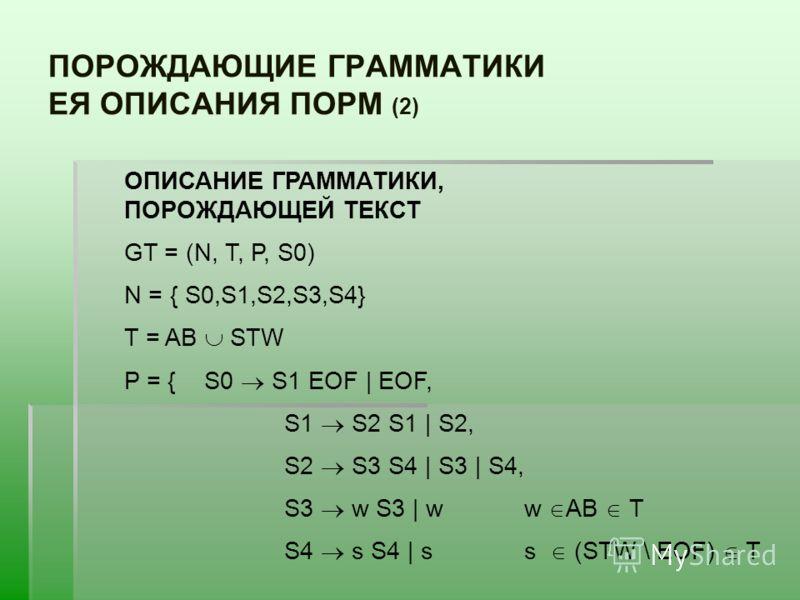 ПОРОЖДАЮЩИЕ ГРАММАТИКИ ЕЯ ОПИСАНИЯ ПОРМ (2) ОПИСАНИЕ ГРАММАТИКИ, ПОРОЖДАЮЩЕЙ ТЕКСТ GT = (N, T, P, S0) N = { S0,S1,S2,S3,S4} T = AB STW P = {S0 S1 EOF | EOF, S1 S2 S1 | S2, S2 S3 S4 | S3 | S4, S3 w S3 | ww AB T S4 s S4 | ss (STW \ EOF) T