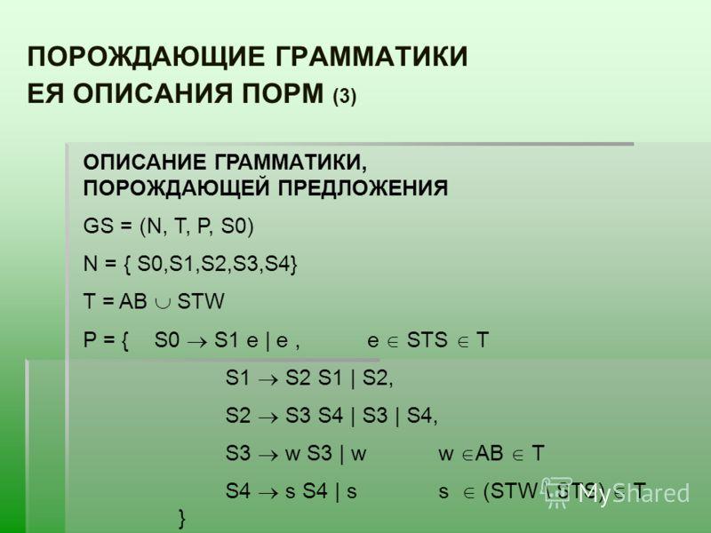 ПОРОЖДАЮЩИЕ ГРАММАТИКИ ЕЯ ОПИСАНИЯ ПОРМ (3) ОПИСАНИЕ ГРАММАТИКИ, ПОРОЖДАЮЩЕЙ ПРЕДЛОЖЕНИЯ GS = (N, T, P, S0) N = { S0,S1,S2,S3,S4} T = AB STW P = {S0 S1 е | е,е STS T S1 S2 S1 | S2, S2 S3 S4 | S3 | S4, S3 w S3 | ww AB T S4 s S4 | ss (STW \ STS) T }