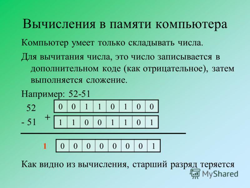 Вычисления в памяти компьютера Компьютер умеет только складывать числа. Для вычитания числа, это число записывается в дополнительном коде (как отрицательное), затем выполняется сложение. Например: 52-51 52 - 51 Как видно из вычисления, старший разряд
