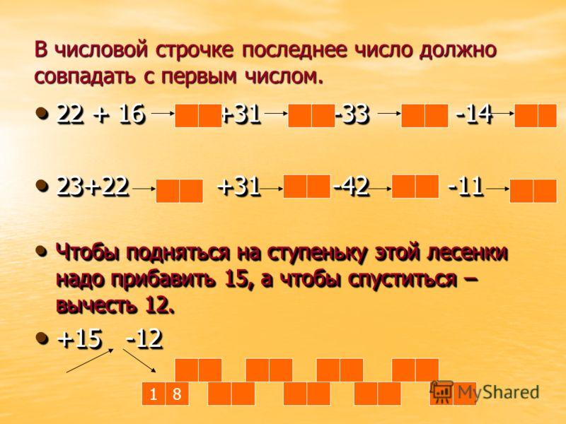 В числовой строчке последнее число должно совпадать с первым числом. 22 + 16 +31 -33 -14 22 + 16 +31 -33 -14 23+22 +31 -42 -11 23+22 +31 -42 -11 Чтобы подняться на ступеньку этой лесенки надо прибавить 15, а чтобы спуститься – вычесть 12. Чтобы подня