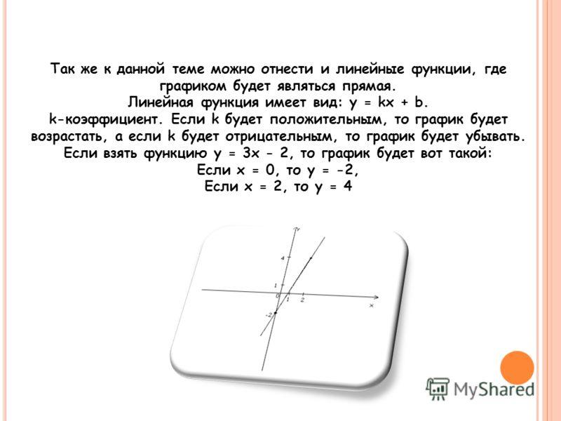 Так же к данной теме можно отнести и линейные функции, где графиком будет являться прямая. Линейная функция имеет вид: y = kx + b. k-коэффициент. Если k будет положительным, то график будет возрастать, а если k будет отрицательным, то график будет уб