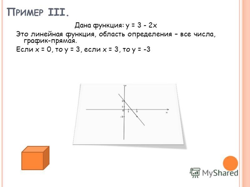 П РИМЕР III. Дана функция: y = 3 - 2x Это линейная функция, область определения – все числа, график-прямая. Если x = 0, то y = 3, если x = 3, то y = -3