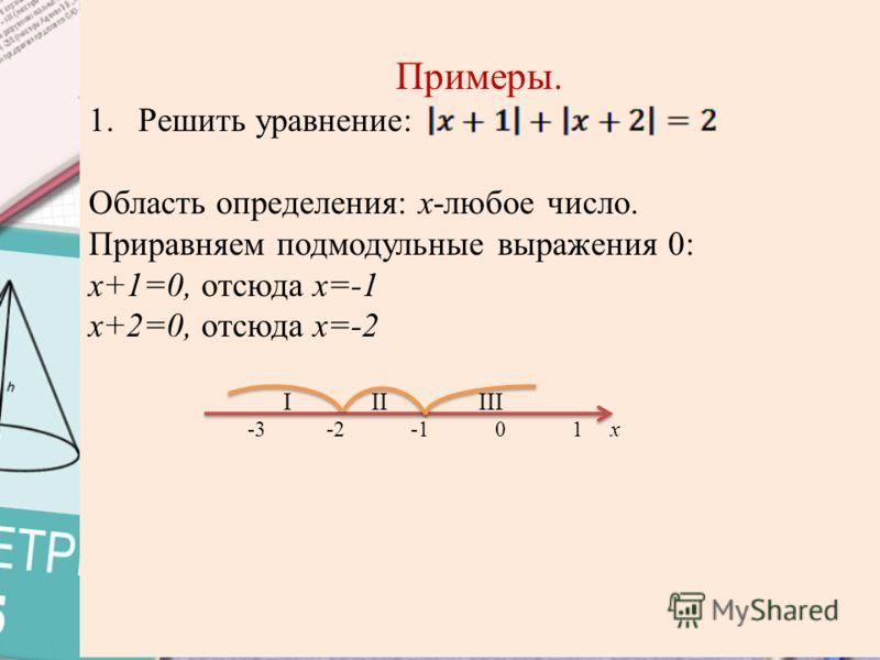 Примеры. 1.Решить уравнение: Область определения: х-любое число. Приравняем подмодульные выражения 0: х+1=0, отсюда х=-1 х+2=0, отсюда х=-2 I II III -3 -2 -1 0 1 x