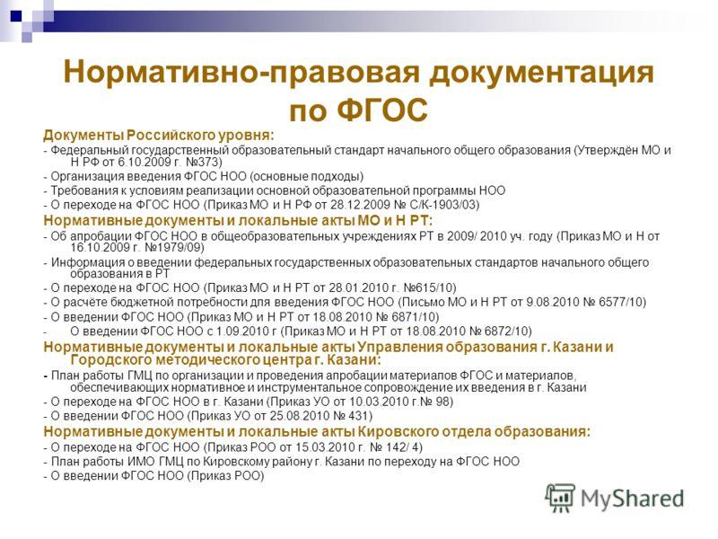 Нормативно-правовая документация по ФГОС Документы Российского уровня: - Федеральный государственный образовательный стандарт начального общего образования (Утверждён МО и Н РФ от 6.10.2009 г. 373) - Организация введения ФГОС НОО (основные подходы) -