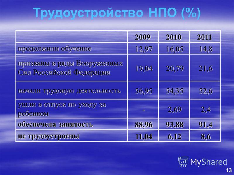 13 Трудоустройство НПО (%) 200920102011 продолжили обучение 12,9716,0514,8 призваны в ряды Вооруженных Сил Российской Федерации 19,0420,7921,6 начали трудовую деятельность 56,9554,3552,6 ушли в отпуск по уходу за ребенком -2,692,4 обеспечена занятост