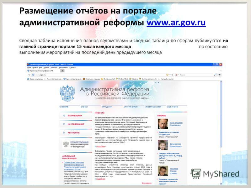 Размещение отчётов на портале административной реформы www.ar.gov.ruwww.ar.gov.ru Сводная таблица исполнения планов ведомствами и сводная таблица по сферам публикуются на главной странице портале 15 числа каждого месяца по состоянию выполнения меропр