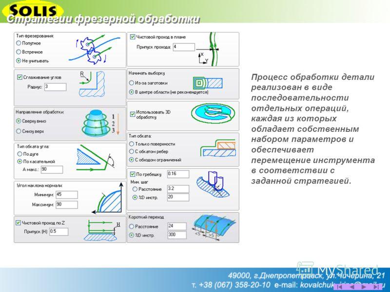 Стратегии фрезерной обработки Процесс обработки детали реализован в виде последовательности отдельных операций, каждая из которых обладает собственным набором параметров и обеспечивает перемещение инструмента в соответствии с заданной стратегией.
