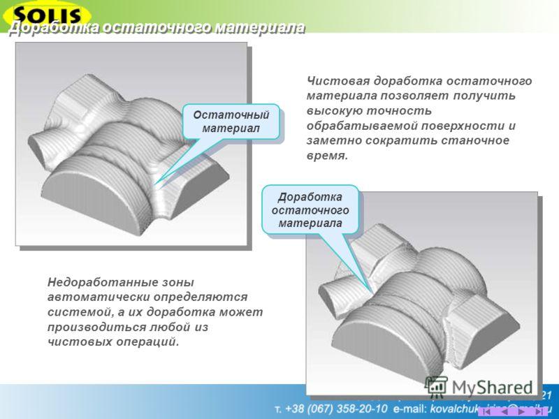 Остаточный материал Доработка остаточного материала Чистовая доработка остаточного материала позволяет получить высокую точность обрабатываемой поверхности и заметно сократить станочное время. Недоработанные зоны автоматически определяются системой,