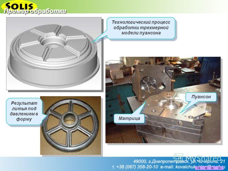 Пуансон Матрица Результат литья под давлением в форму Технологический процесс обработки трехмерной модели пуансона Пример обработки