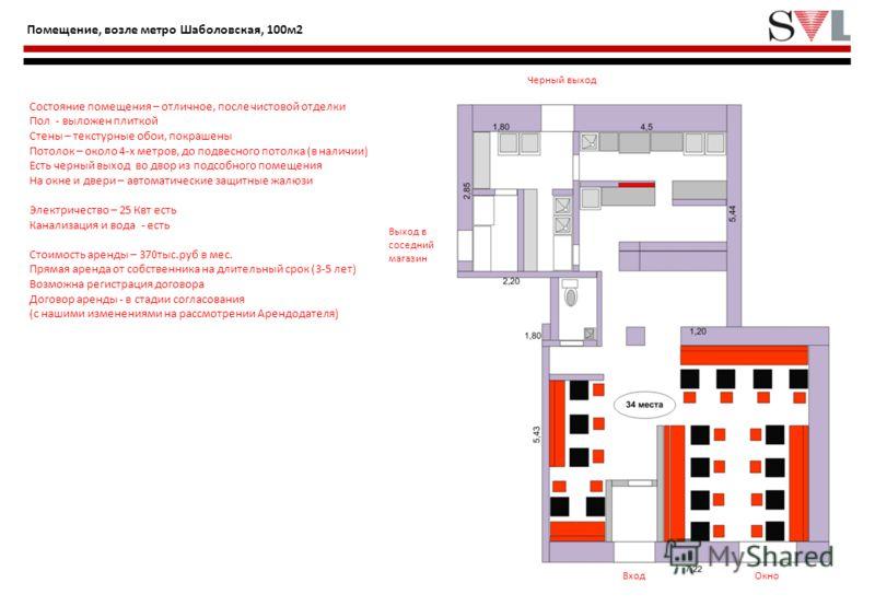 4 Помещение, возле метро Шаболовская, 100м2 Состояние помещения – отличное, после чистовой отделки Пол - выложен плиткой Стены – текстурные обои, покрашены Потолок – около 4-х метров, до подвесного потолка (в наличии) Есть черный выход во двор из под