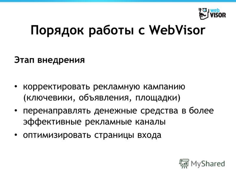 Порядок работы с WebVisor Этап внедрения корректировать рекламную кампанию (ключевики, объявления, площадки) перенаправлять денежные средства в более эффективные рекламные каналы оптимизировать страницы входа