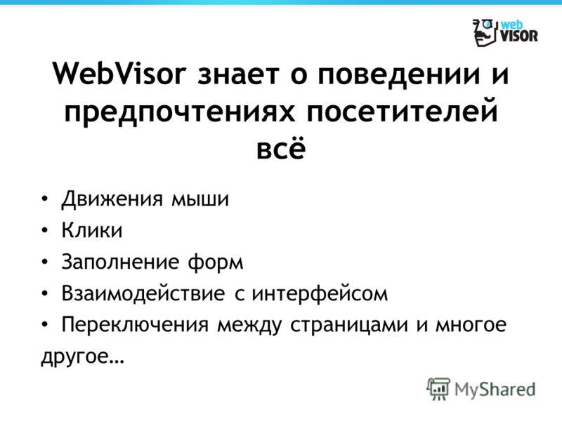 WebVisor знает о поведении и предпочтениях посетителей всё Движения мыши Клики Заполнение форм Взаимодействие с интерфейсом Переключения между страницами и многое другое…