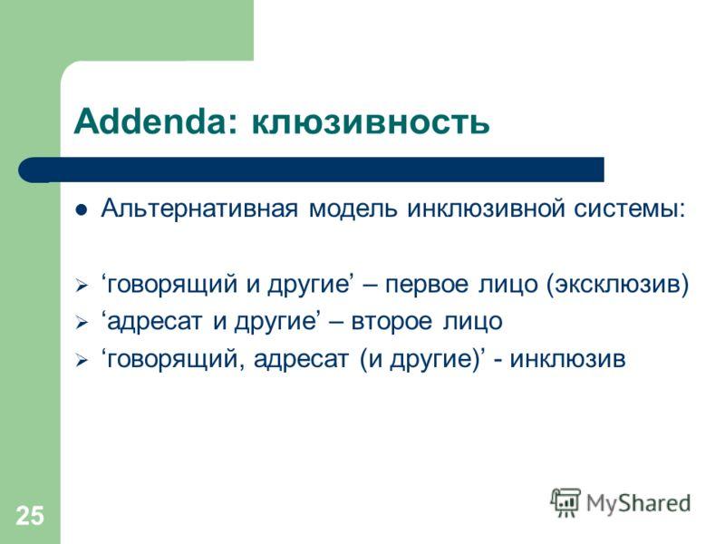 25 Addenda: клюзивность Альтернативная модель инклюзивной системы: говорящий и другие – первое лицо (эксклюзив) адресат и другие – второе лицо говорящий, адресат (и другие) - инклюзив
