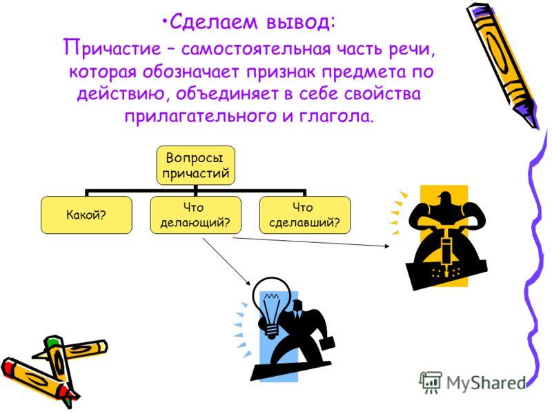 Понятие о причастии. Урок первый. В русском языке есть такие слова, в которых объединяются значения и признаки двух частей речи – глагола и прилагательного. Такие слова в грамматике называют причастиями. Причастия употребляются в книжной речи чаще, ч