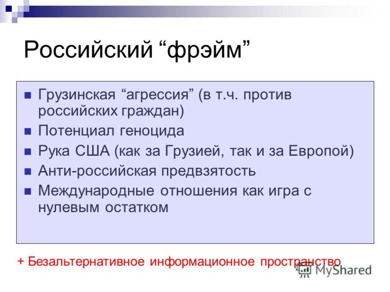 Грузинская агрессия (в т.ч. против российских граждан) Потенциал геноцида Рука США (как за Грузией, так и за Европой) Анти-российская предвзятость Международные отношения как игра с нулевым остатком Российский фрэйм + Безальтернативное информационное