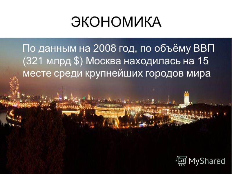 ЭКОНОМИКА По данным на 2008 год, по объёму ВВП (321 млрд $) Москва находилась на 15 месте среди крупнейших городов мира