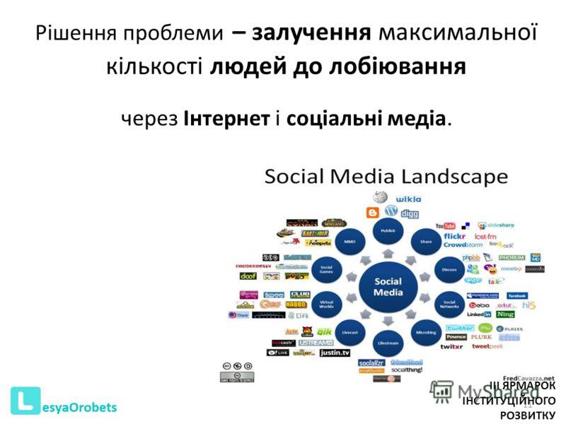 Рішення проблеми – залучення максимальної кількості людей до лобіювання через Інтернет і соціальні медіа. 11 III ЯРМАРОК ІНСТИТУЦІЙНОГО РОЗВИТКУ