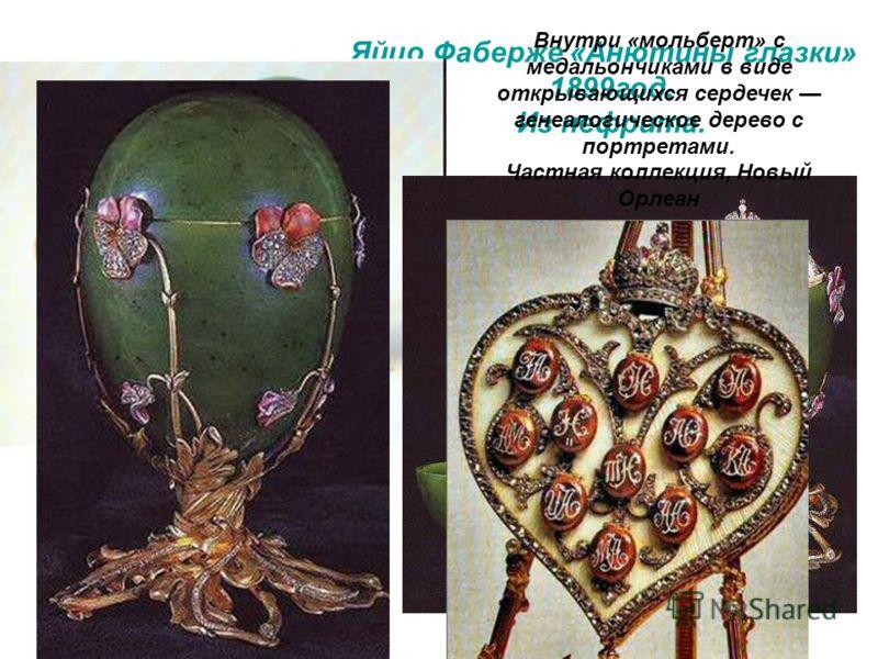 Яйцо Фаберже «Анютины глазки» 1899год. Из нефрита. Внутри «мольберт» с медальончиками в виде открывающихся сердечек генеалогическое дерево с портретами. Частная коллекция, Новый Орлеан
