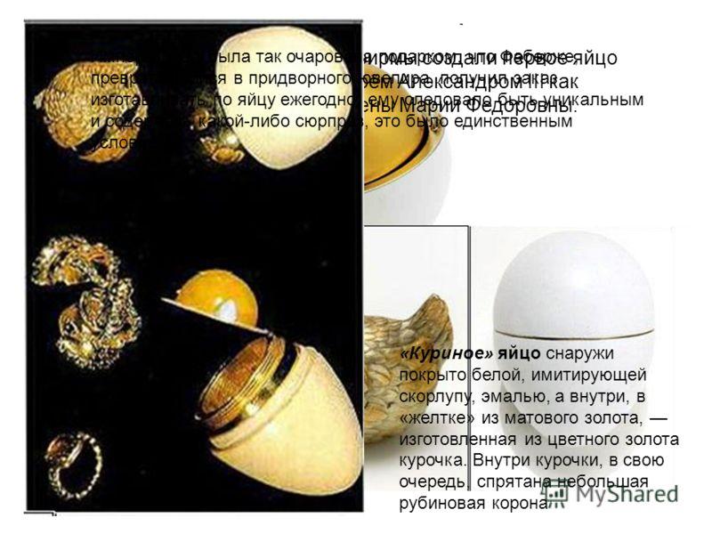 Карл Фаберже и ювелиры его фирмы создали первое яйцо в 1885 г Оно было заказано царём Александром III как пасхальный сюрприз для его жены Марии Федоровны. «Куриное» яйцо снаружи покрыто белой, имитирующей скорлупу, эмалью, а внутри, в «желтке» из мат