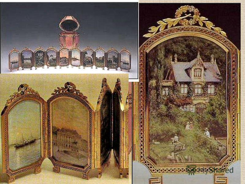 Внутри: 12 миниатюрных картин на перламутре виды дворцов в Дании и России. Яйцо Фаберже «Датские дворцы», 1890г