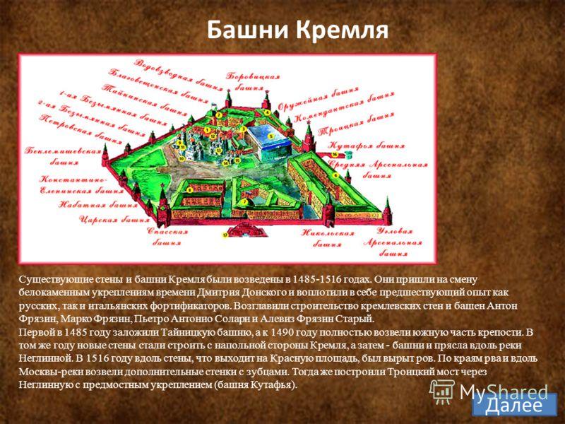 Существующие стены и башни Кремля были возведены в 1485-1516 годах. Они пришли на смену белокаменным укреплениям времени Дмитрия Донского и воплотили в себе предшествующий опыт как русских, так и итальянских фортификаторов. Возглавили строительство к