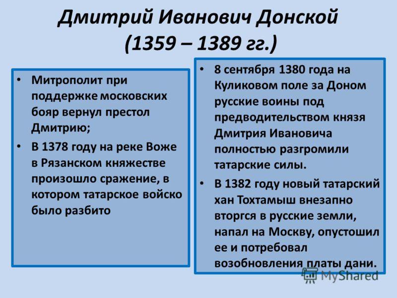 Дмитрий Иванович Донской (1359 – 1389 гг.) Митрополит при поддержке московских бояр вернул престол Дмитрию; В 1378 году на реке Воже в Рязанском княжестве произошло сражение, в котором татарское войско было разбито 8 сентября 1380 года на Куликовом п