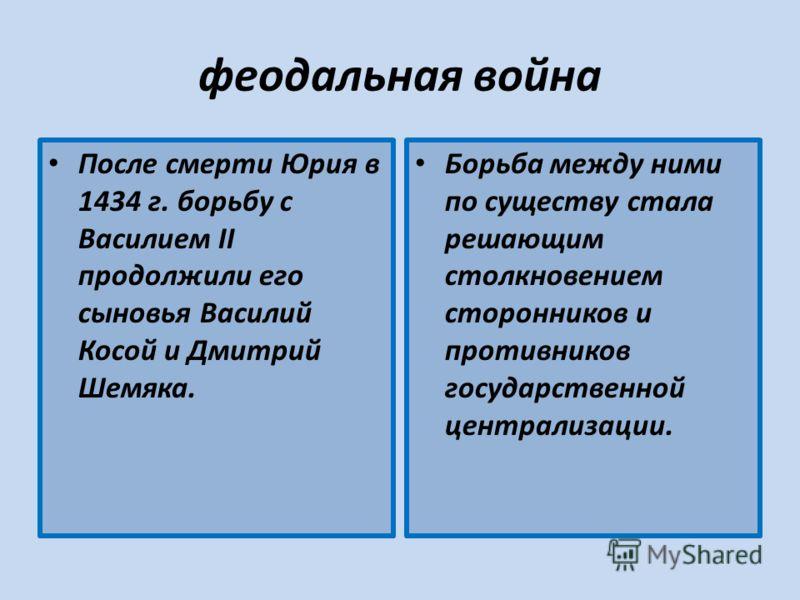 феодальная война После смерти Юрия в 1434 г. борьбу с Василием II продолжили его сыновья Василий Косой и Дмитрий Шемяка. Борьба между ними по существу стала решающим столкновением сторонников и противников государственной централизации.