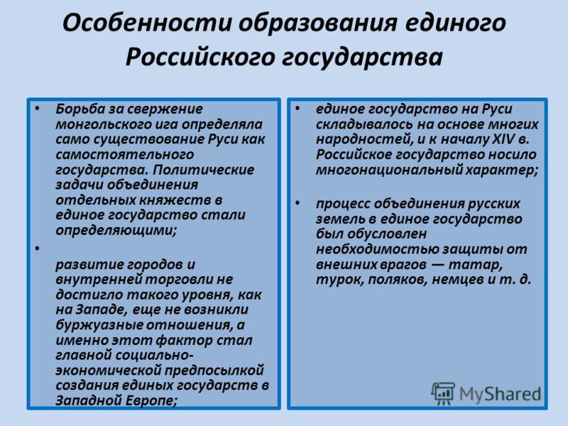 Особенности образования единого Российского государства Борьба за свержение монгольского ига определяла само существование Руси как самостоятельного государства. Политические задачи объединения отдельных княжеств в единое государство стали определяющ