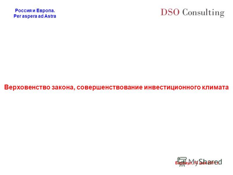 Россия и Европа. Per aspera ad Astra Барнаул, 13 мая 2011 г. Верховенство закона, совершенствование инвестиционного климата