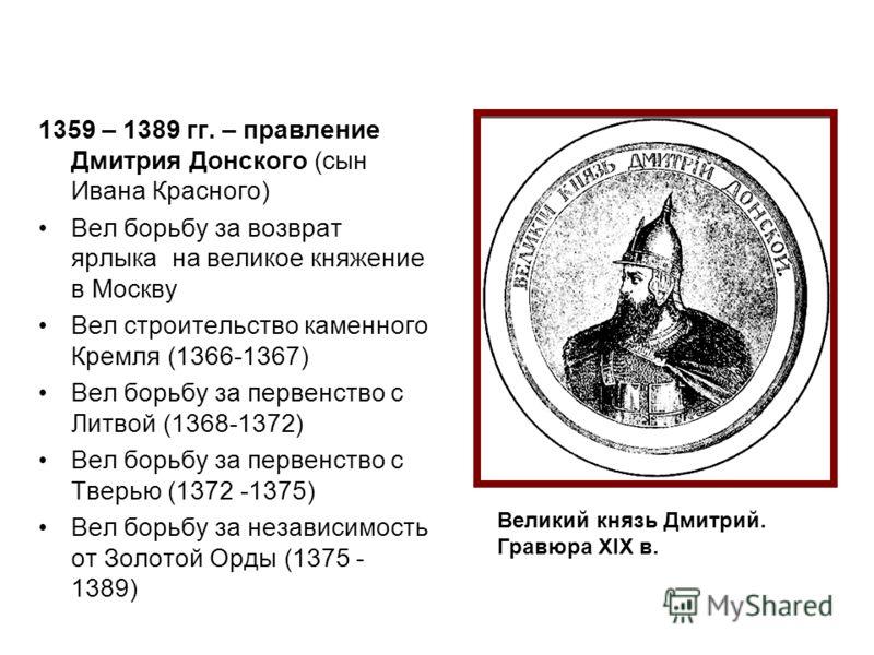 шпаргалка по истории княжение дмитрия донского