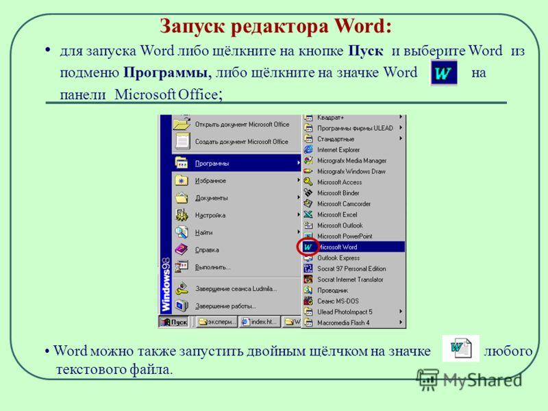 Запуск редактора Word: для запуска Word либо щёлкните на кнопке Пуск и выберите Word из подменю Программы, либо щёлкните на значке Word на панели Microsoft Office ; Word можно также запустить двойным щёлчком на значке любого текстового файла.